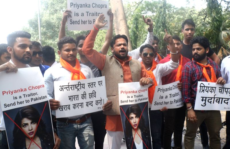 "Hindu activists stage a demonstration against actress Priyanka Chopra after an episode of her show ""Quantico"" portrayed Indian nationalists as terrorists who were trying to frame ... - Priyanka Chopra"