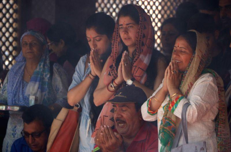 Hindu devotees offer prayers at the Kheer Bhawani temple at Tulla Mulla in Jammu and Kashmir's Ganderbal district  on June 2, 2017.