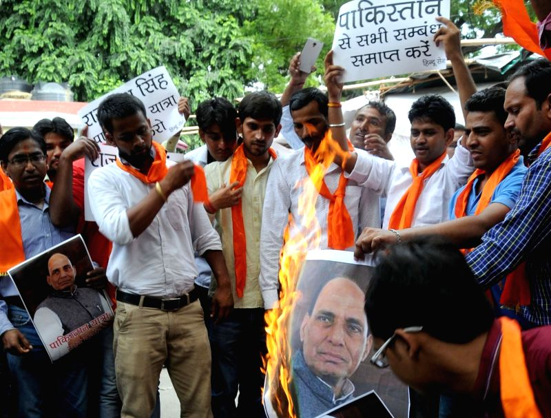 Hindu Sena activists staged a protest against Union Home Minister Rajnath Singh on his upcoming Pakistan visit, in New Delhi, on Aug. 2, 2016. - Rajnath Singh
