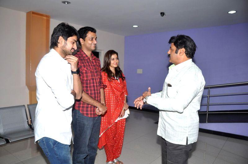 Hindupur MLA and film Hero Balakrishna watched Oohalu Gusagusalade film in Hyderabad on June 22, 204.