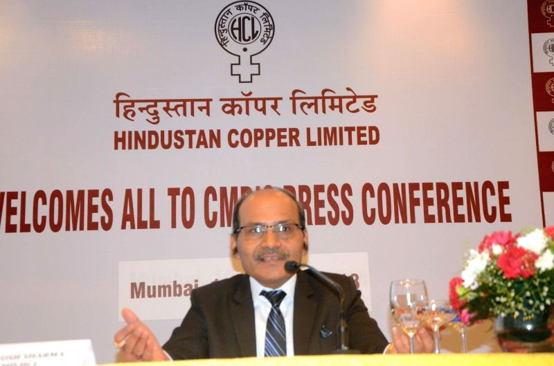 Hindustan Copper Limited Chairman and Managing Director Santosh Sharma addresses a press conference organised to announce Q1 financial results of FY 2018-19, in Mumbai, on Aug 10, 2018. - Santosh Sharma