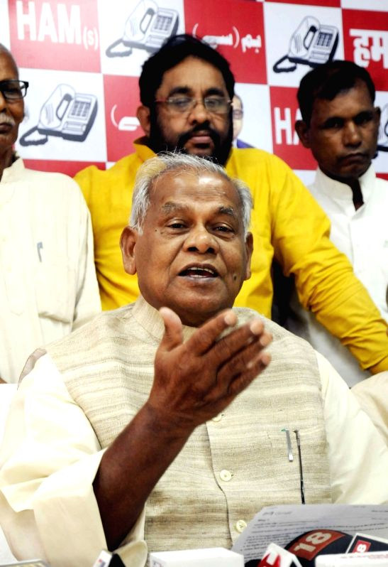 Hindustani Awam Morcha - Secular (HAM-S) chief Jitan Ram Manjhi addresses a press conference, in Patna on June 14, 2018.