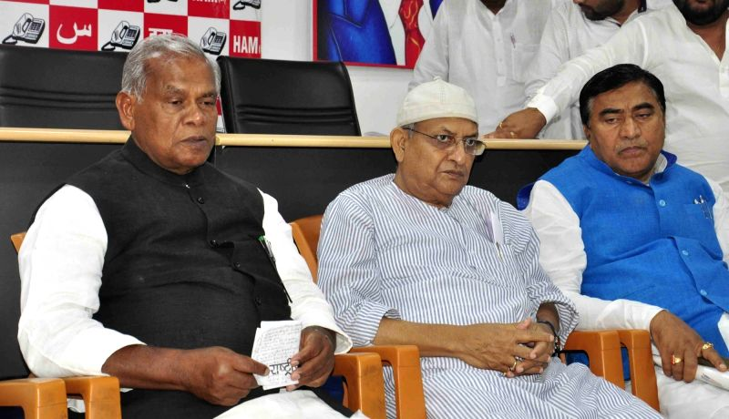 Hindustani Awami Morcha (HAM) chief Jitan Ram Manjhi addresses a press conference in New Delhi on May 8, 2017.