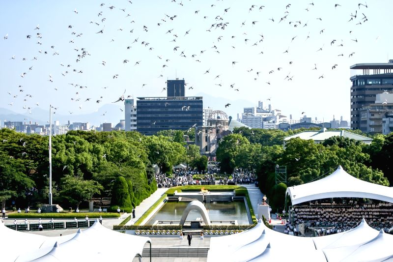 HIROSHIMA, Aug. 6, 2018 - Pigeons fly over the Peace Memorial Park in Hiroshima, Japan, on Aug. 6, 2018. Japan on Monday marked the 73rd anniversary of the atomic bombing of Hiroshima.