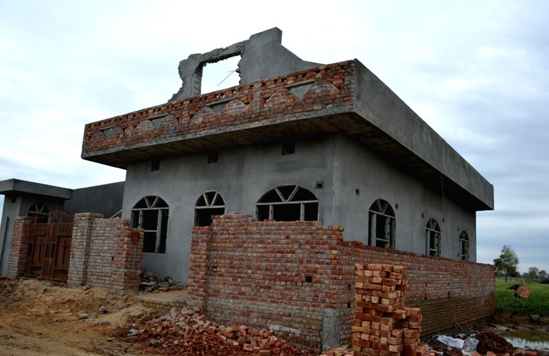 The under-construction church at Hisssar that was attacked and vandalised by miscreants; on March 16, 2015.