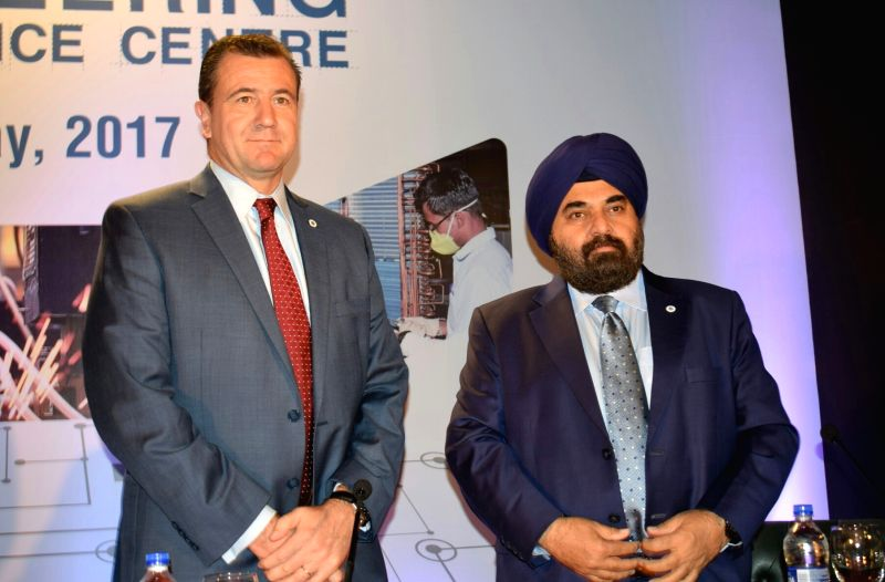 Hitachi Global CEO Franz Cerwinka and Hitachi India MD Gurmeet Singh during inauguration of Engineering Excellence Center in New Delhi on May 23, 2017. - Gurmeet Singh