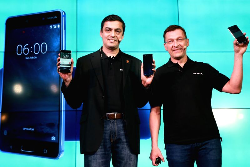 HMD Global's Pekka Rantala and Ajey Mehta at the launch of Nokia's new smartphone range – Nokia 6, Nokia 5 and Nokia 3 , in New Delhi on June 13,2017. - Ajey Mehta