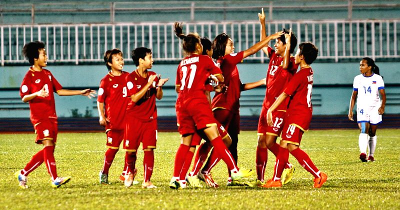 Players of Thailand celebrate after scoring a goal against the Philippines in the final match of the 2014 AFC U-14 Girls Regional Championship (ASEAN) at ..
