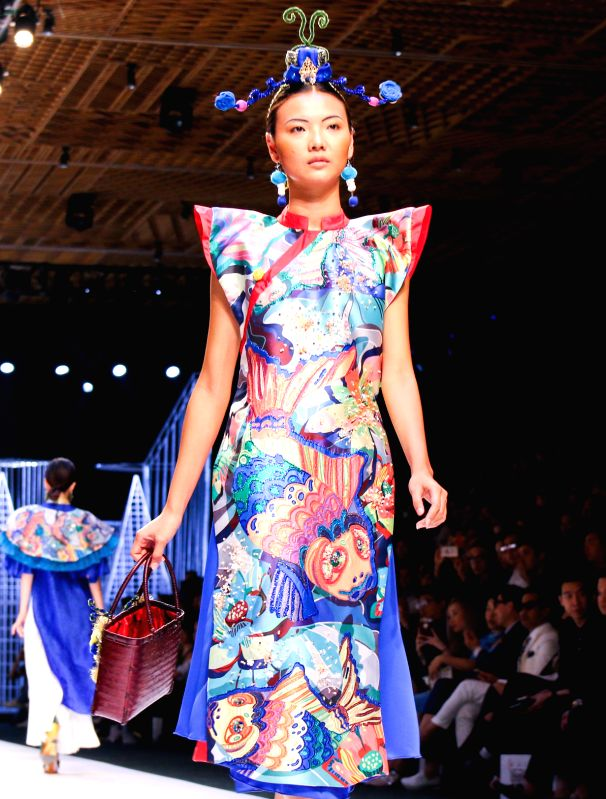 HO CHI MINH CITY (VIETNAM), April 26, 2017 A model presents a creation of Vietnamese designer Nguyen Thuy during the Vietnam International Fashion Week 2017 in Ho Chi Minh City, Vietnam, ...