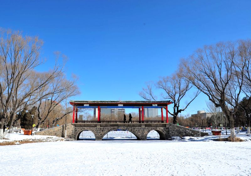 Tourists walk at the Mandukhai Park after snowfall in Hohhot, capital of north China's Inner Mongolia, Jan. 29, 2014. A snowfall hit Hohhot from Wednesday night and .