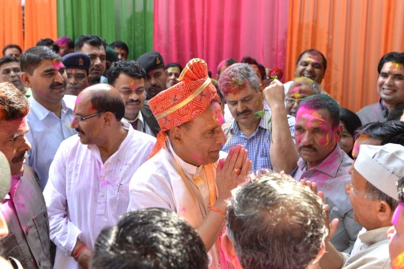 Holi celebrations underway at Union Home Minister Rajnath Singh's residence in New Delhi on MArch 2, 2018. - Rajnath Singh