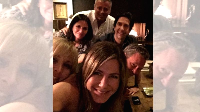 """Hollywood star Jennifer Aniston finally joined Instagram on Tuesdays, and she had nearly 200k followers within the first hour of joining the social media app. In the snapshot, the star is seen posing with her """"Friends"""" co-stars Matt LaBlanc, Courtene"""