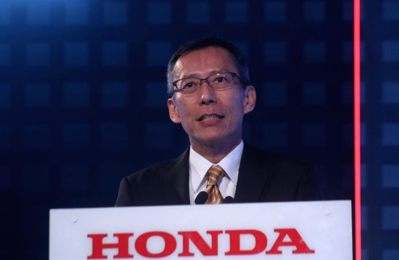 Honda Cars India Ltd (HCIL) President and CEO Gaku Nakanishi addresses at the launch of Honda Amaze, in New Delhi on May 16, 2018.