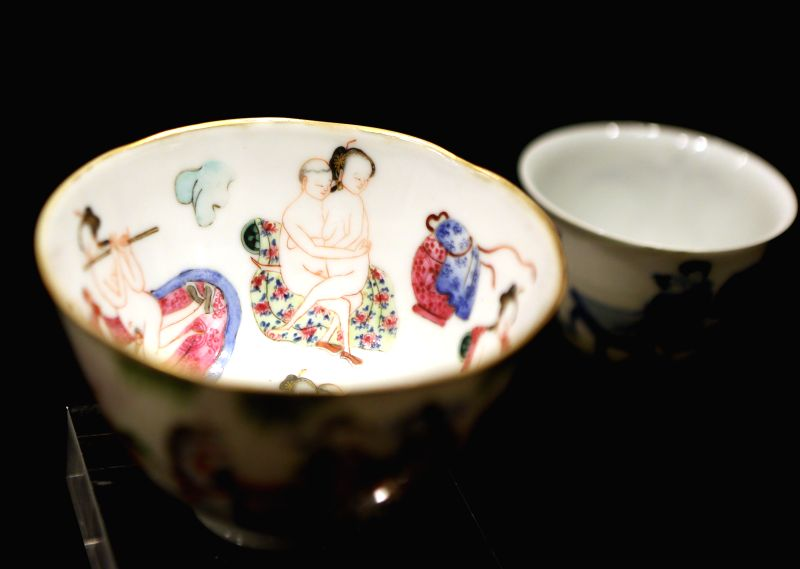 "Bowls are displayed during a media preview of ""Gardens of Pleasure: Sex in Ancient China, An Exhibition of the Ferdinand M. Bertholet Collection"" in ..."