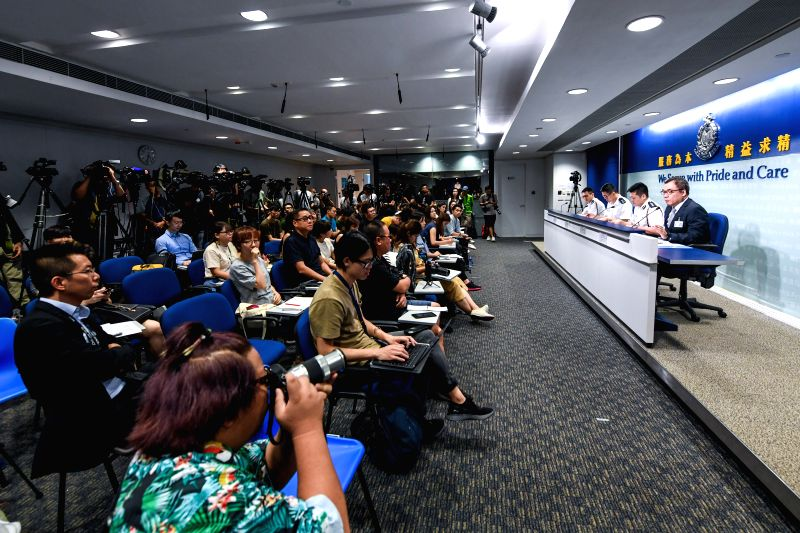 HONG KONG, Aug. 21, 2019 (Xinhua) -- Photo taken on Aug. 21, 2019 shows the scene of a press conference held by Hong Kong police in south China's Hong Kong. Hong Kong police on Wednesday called on all journalists to respect each other's freedom of ne