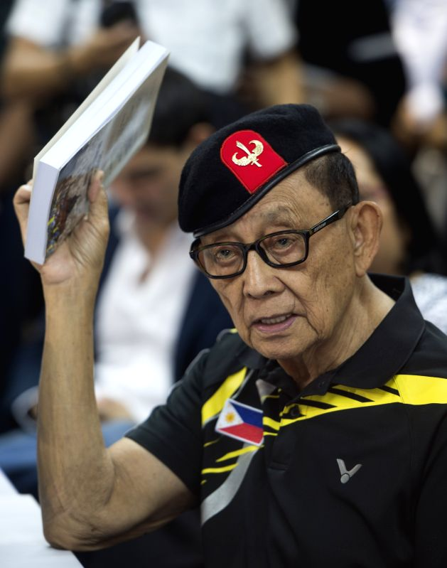 HONG KONG, Aug. 9, 2016 - Former Philippine President Fidel Ramos meets with the press in Hong Kong, south China, Aug. 9, 2016. Former Philippine President Fidel Ramos said in Hong Kong Tuesday that ...