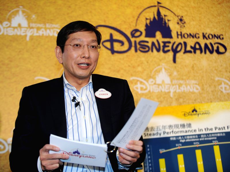 Andrew Kam, managing director of the Hong Kong Disneyland, speaks at a news conference in Hong Kong, south China, Feb. 9, 2015. The total revenue of the Hong Kong
