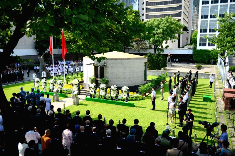 A commemoration marking the 69th anniversary of the victory of the Chinese people's war of resistance against Japanese aggression is held in Hong Kong, south ...