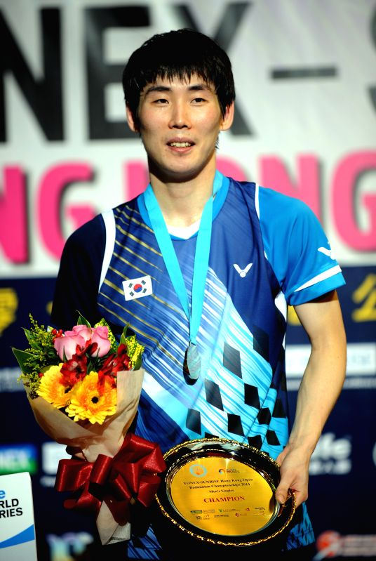Hong Kong: Son Wan Ho of South Korea poses on the podium after winning the men's singles final match against Chen Long of China at the Yonex-Sunrise Hong Kong Open in Hong Kong, south China, Nov. 23,