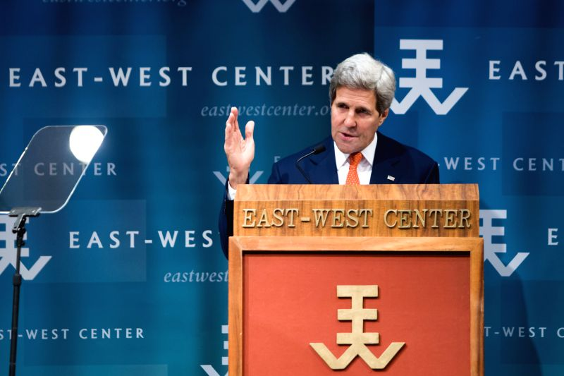 U.S. Secretary of State John Kerry delivers a speech at the East-West Center in Honolulu, Hawaii, the United States, Aug. 13, 2014. Kerry said on Wednesday that ...