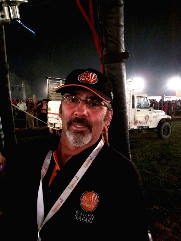 Hot air balloon veteran Steve Trieber at the Taj Balloon Festival in Agra