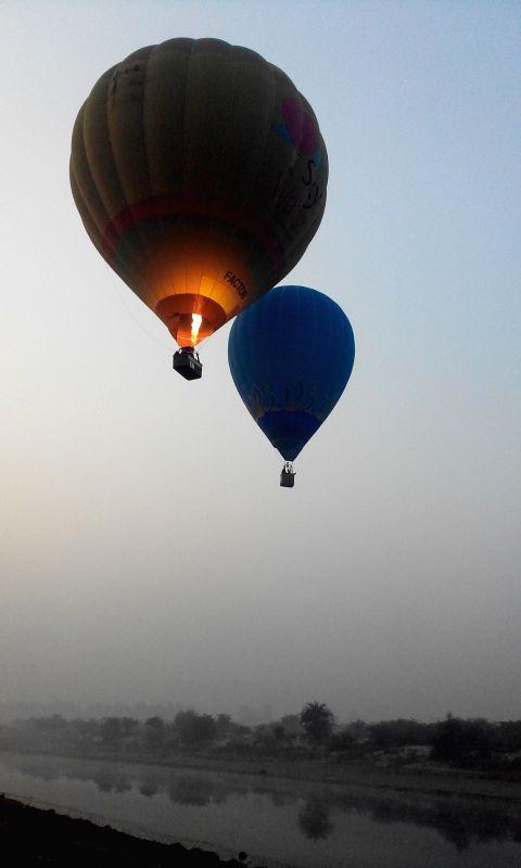 Hot air balloons at the Taj Balloon Festival in Agra