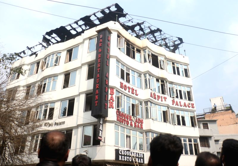 Hotel Arpit Palace in Karol Bagh where a major fire broke out killing seventeen people, including a child and injuring three others in New Delhi on Feb 12, 2019.