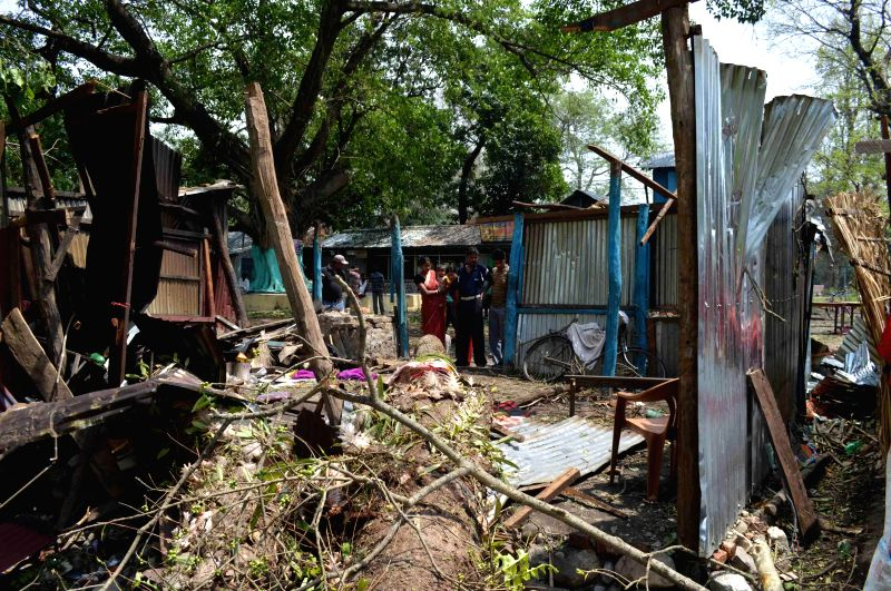 Houses destroyed in Kalboishakhi - notorious storms from the north-western direction that are common in the month of April, in Jayanti market, around 35 km away from Alipurduar in Jalpaiguri district