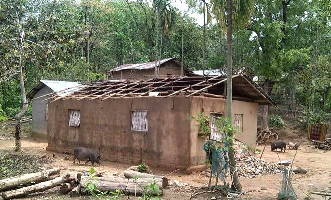 Houses, Roads and Electric Pole damaged and uprooted in Megjalaya\'s South West Garo Hills district, bordering Bangladesh.