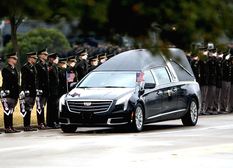 HOUSTON, Dec. 7, 2018 - A vehicle carrying the body of former U.S. President George H.W. Bush arrives at the George H.W. Bush Presidential Library and Museum at Texas A&M University in Texas, the ...