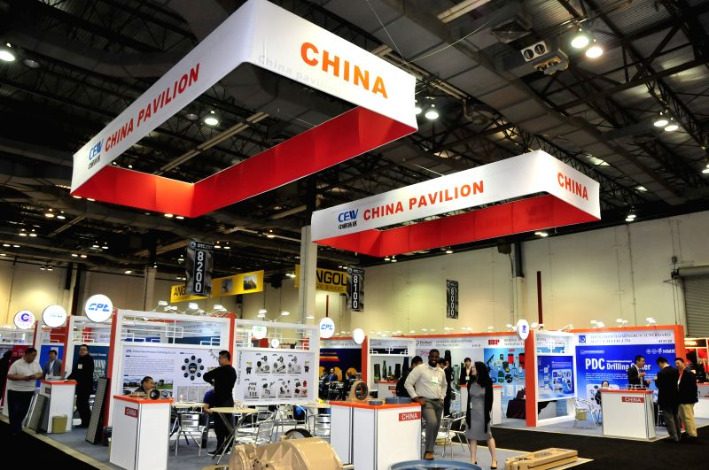 HOUSTON, May 2, 2017 - Photo taken on May 1, 2017 shows China pavilion at the 48th Offshore Technology Conference (OTC) in Houston, the United States. Chinese companies participated in the 48th ...