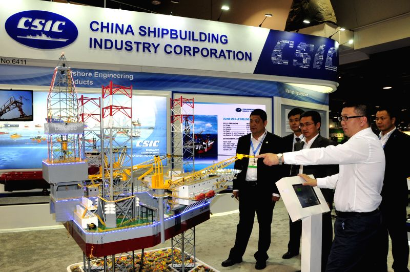 HOUSTON, May 2, 2017 - Photo taken on May 1, 2017 shows the stand of China Shipbuilding Industry Corporation at the 48th Offshore Technology Conference (OTC) in Houston, the United States. Chinese ...