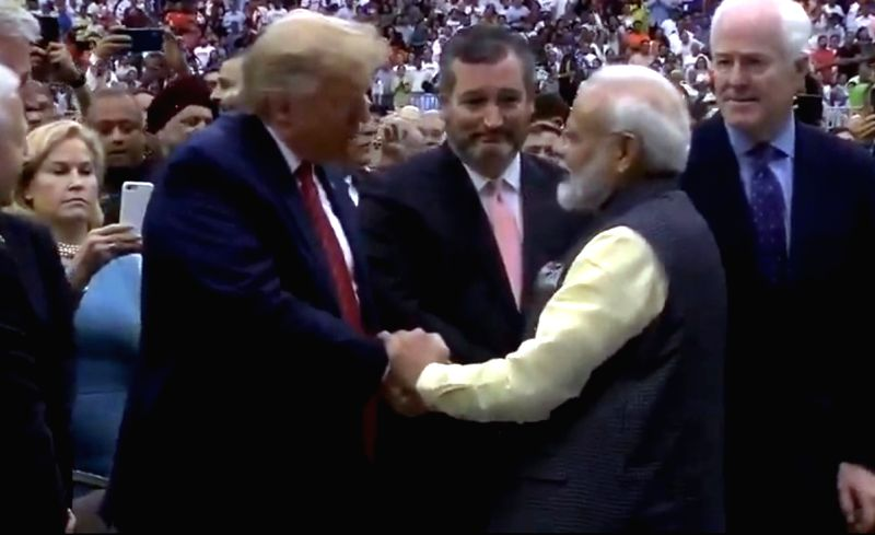 Houston: Prime Minister Narendra Modi and US President Donald Trump during the 'Howdy Modi' event at NRG Stadium in Houston, USA, on Sep 22, 2019. (Photo: IANS/BJP)