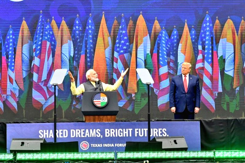 Houston: Prime Minister Narendra Modi and US President Donald Trump during the 'Howdy Modi' event at NRG Stadium in Houston, USA, on Sep 22, 2019. (Photo: IANS/MEA)