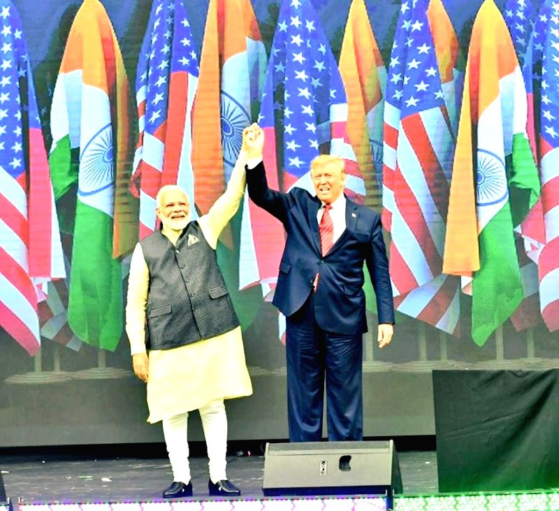 Houston: Prime Minister Narendra Modi and US President Donald Trump during the 'Howdy Modi' event at NRG Stadium in Houston, USA, on Sep 22, 2019. (Photo: IANS/MEA)