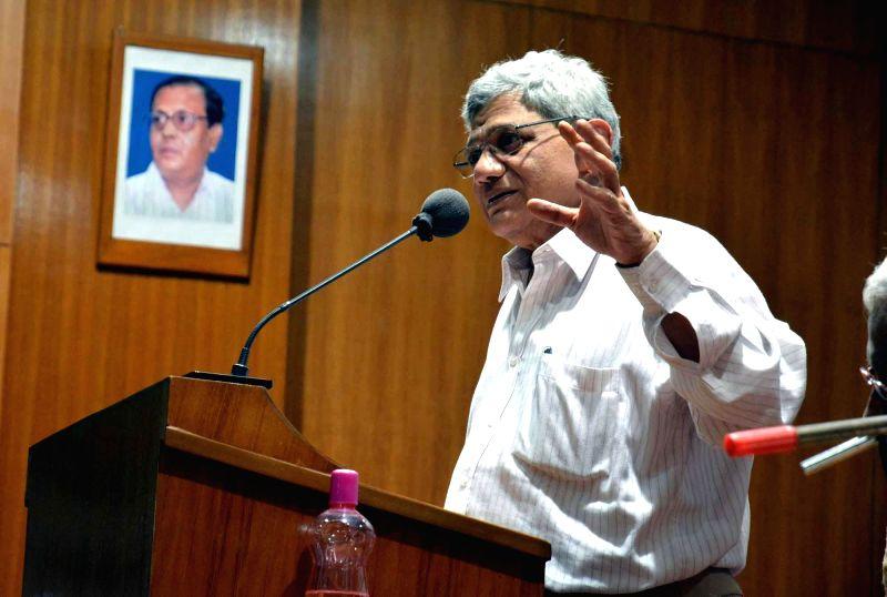 CPI (M) politburo member Sitaram Yechury addresses during a party meeting in Howrah, near Kolkata on Nov 23, 2014.