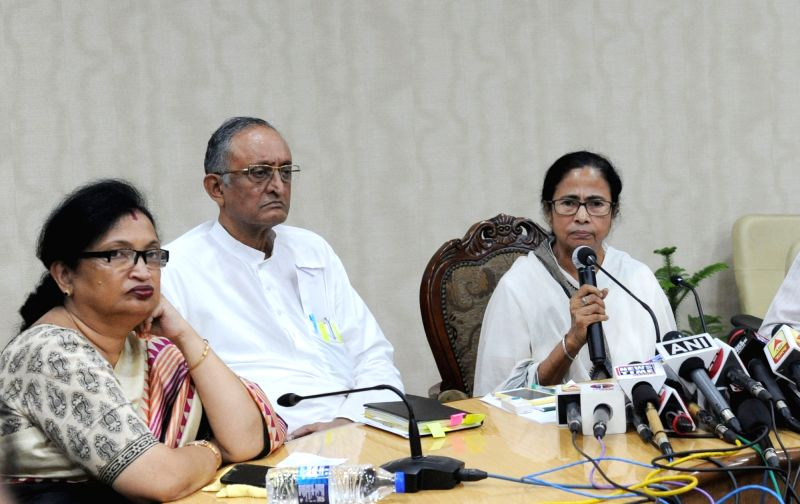 Howrah: West Bengal Chief Minister Mamata Banerjee addresses a press conference at Nabanna, Howrah on June 15, 2019.