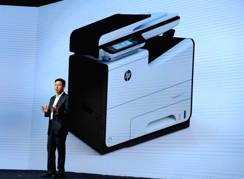 HP Inc Printing Systems General Manager (Asia Pacific and Japan) Ng Tian-Chong introduces new PageWide business portfolio printers in Macau, China.