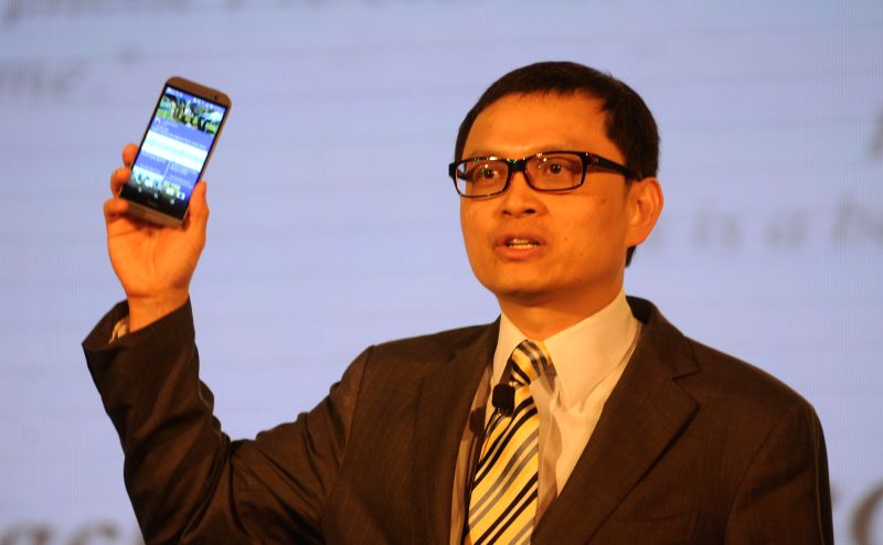 HTC Chief Financial Officer and president (Global Sales) Chia-Lin Chang during the launch of a new product in New Delhi on April 21, 2014.