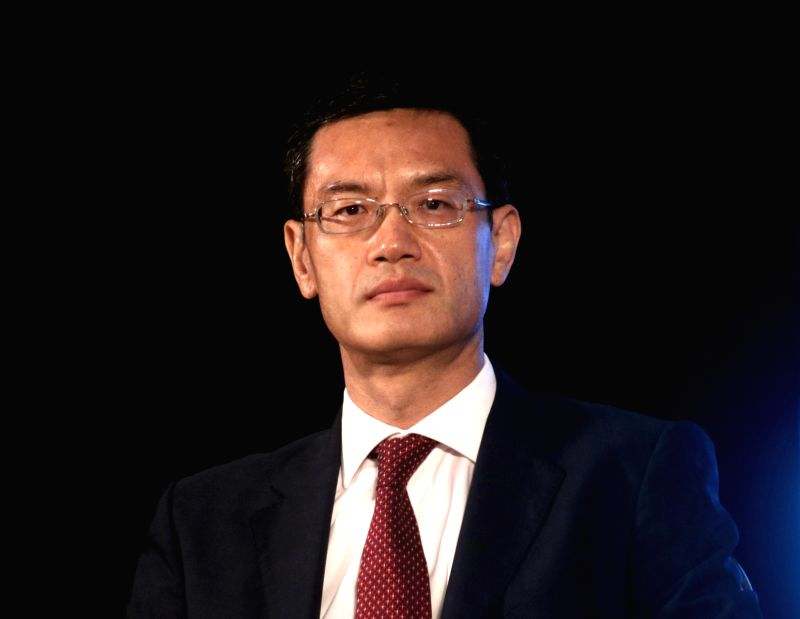 Huawei India CEO Jay Chen addresses during a press conference regarding India Mobile Congress 2018 in New Delhi, on April 13, 2018.
