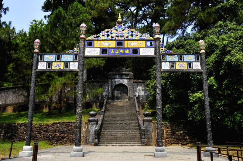 Photo taken on April 17, 2014 shows Minh Mang Tomb, which is Nguyen Dynasty's second emperor Nguyen Phuc Dam's tomb, located in Hue, Vietnam. Established as the ...