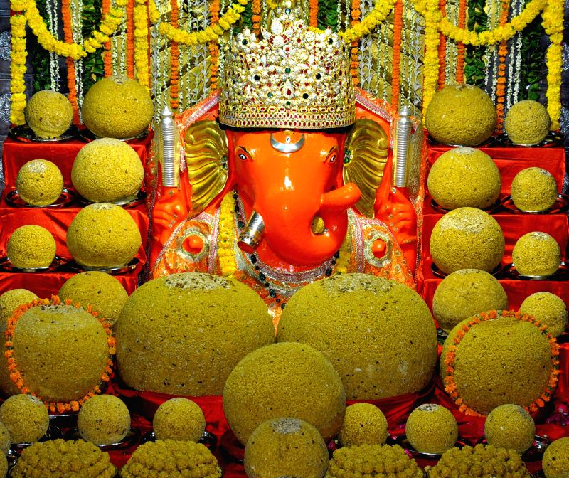 Huge `laddoos` offered to lord Ganesh at Moti Dungri Ganesh Temple ahead of Ganesh Chaturthi in Jaipur on Aug 27, 2014.
