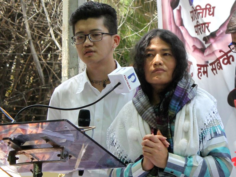 Human rights activist Irom Sharmila Chanu addresses participates in a demonstration against Union Government at Jantar Mantar in New Delhi on May 15, 2017.
