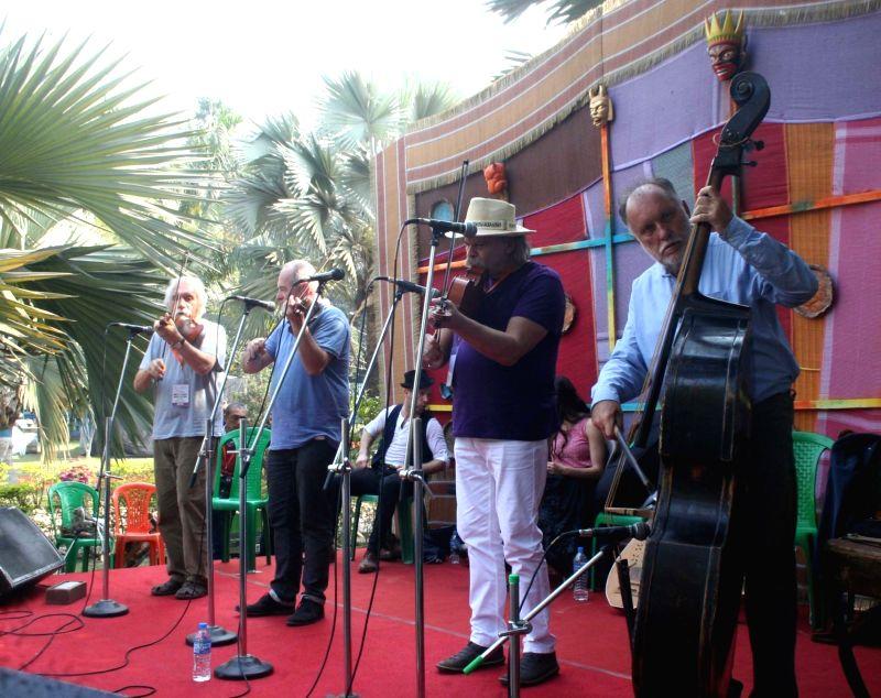 Hungarian artistes perform during Sur Jahan music festival in Kolkata on Feb 3, 2018.