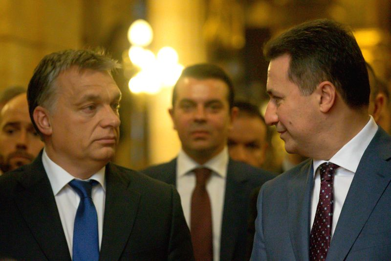 Hungarian Prime Minister Viktor Orban (L) and Macedonian Prime Minister Nikola Gruevski (R) attend a joint press conference after talks in Budapest, Hungary on ... - Viktor Orban
