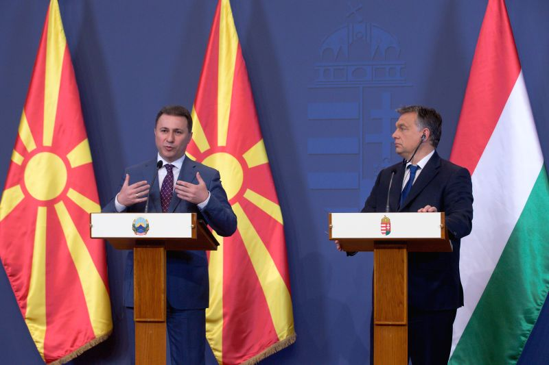 Hungarian Prime Minister Viktor Orban (R) and Macedonian Prime Minister Nikola Gruevski (L) attend a joint press conference after talks in Budapest, Hungary on ... - Viktor Orban