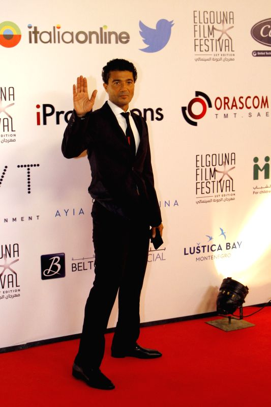 HURGHADA, Sept. 23, 2017 - Egyptian actor Khaled El Nabawy poses for photos on the red carpet of the El Gouna Film Festival in Hurghada, Egypt on Sept. 22, 2017. The first El Gouna Film Festival ... - Khaled E