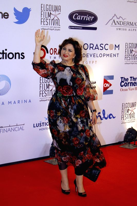 HURGHADA, Sept. 23, 2017 - Egyptian actress Elham Shahin poses for photos on the red carpet of the El Gouna Film Festival in Hurghada, Egypt on Sept. 22, 2017. The first El Gouna Film Festival (GFF) ... - Elham Shahin