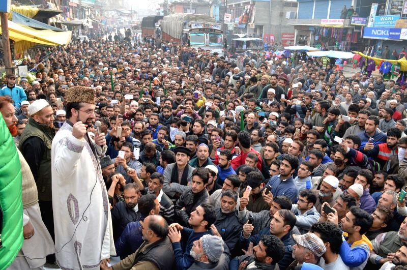 Hurriyat Conference (M) chairman Mirwaiz Umar Farooq addresses a public gathering in Pulwama district of Jammu and Kashmir on Nov 20, 2015.