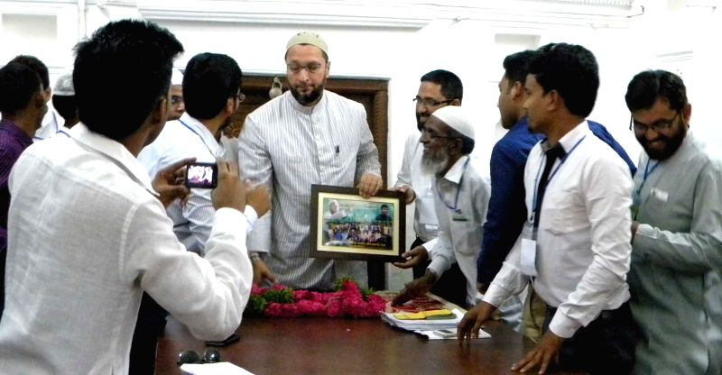 A delegation from West Bengal meets MIM chief Asaduddin Owaisi in Hyderabad, on April 11, 2015.